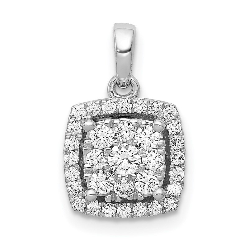 Quality Gold 14k White Gold 1/2ct. Diamond Square Cluster Pendant