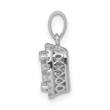 14k White Gold 1/2ct. Diamond Square Cluster Pendant