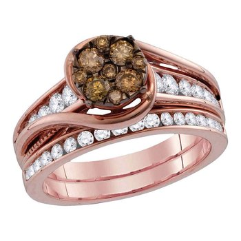 14kt Rose Gold Womens Round Cognac-brown Color Enhanced Diamond Bridal Wedding Engagement Ring Band Set 1 Cttw