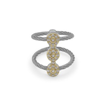 Grey Cable Luster Triple Vertical Ring with 18kt Yellow Gold & Diamonds