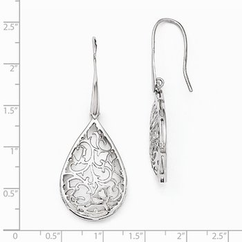 Leslie's Sterling Silver Polished Cut-out Teardrop Dangle Earrings