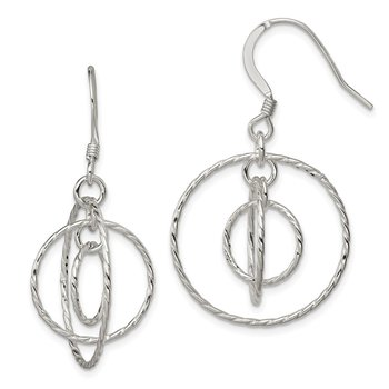 Sterling Silver Twisted Circles Dangle Earrings