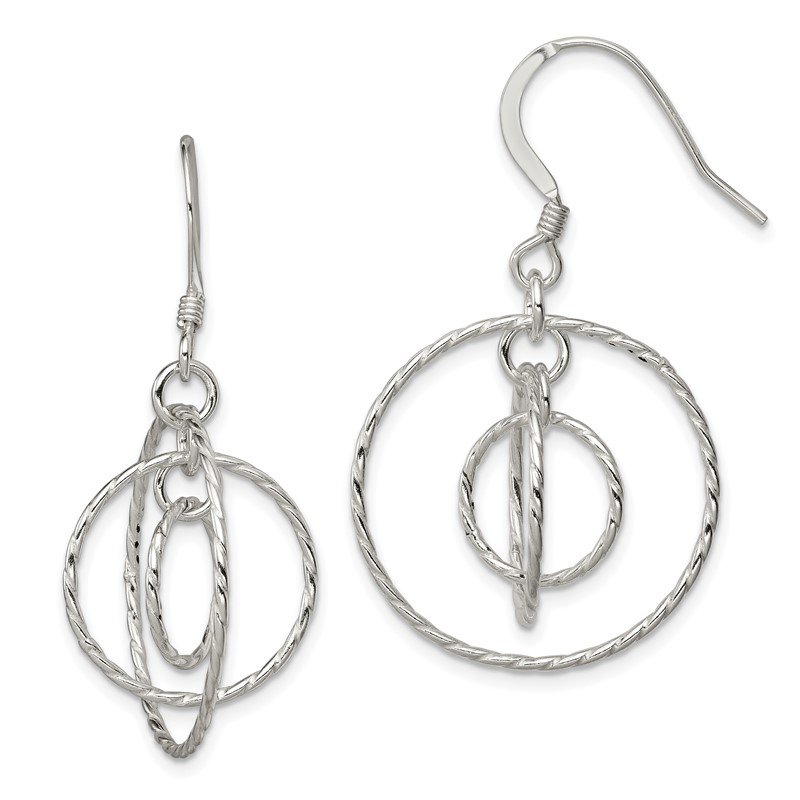 Quality Gold Sterling Silver Twisted Circles Dangle Earrings