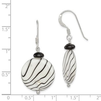 Sterling Silver Black Agate/Mother of Pearl Earrings