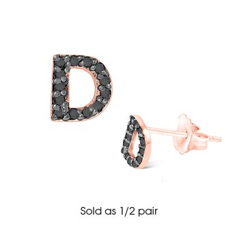 "Black Diamond Single Initial ""D"" Stud Earring (1/2 pair)"