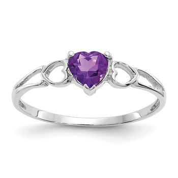 14k White Gold Amethyst Birthstone Ring