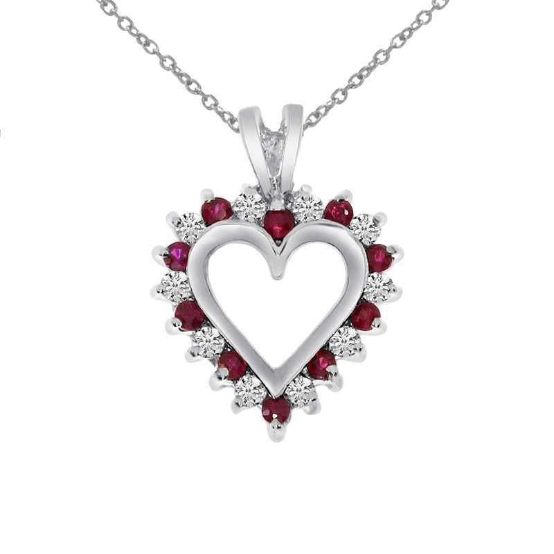 Color Merchants 14k White Gold Ruby and Diamond Heart Shaped Pendant