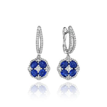 Steal The Spotlight Sapphire and Diamond Cluster Drop Earrings
