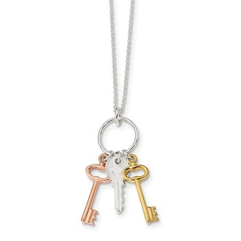 Sterling Silver Rose-tone and Gold-tone Keys Necklace