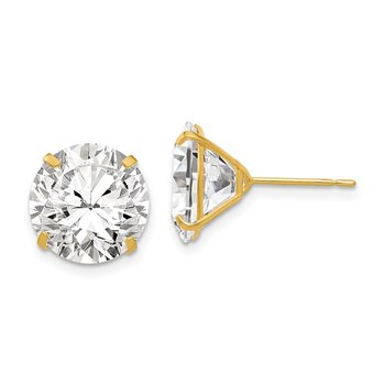 14k 11mm Round CZ Post Earrings