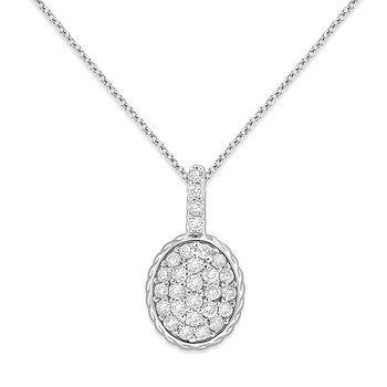 Diamond Oval Drop Necklace in 14k White Gold with 28 Diamonds weighing .62ct tw.