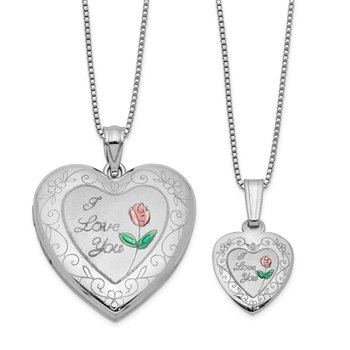Sterling Silver RH-plated Enamel Rose I Love You Heart Locket & Pendant Set