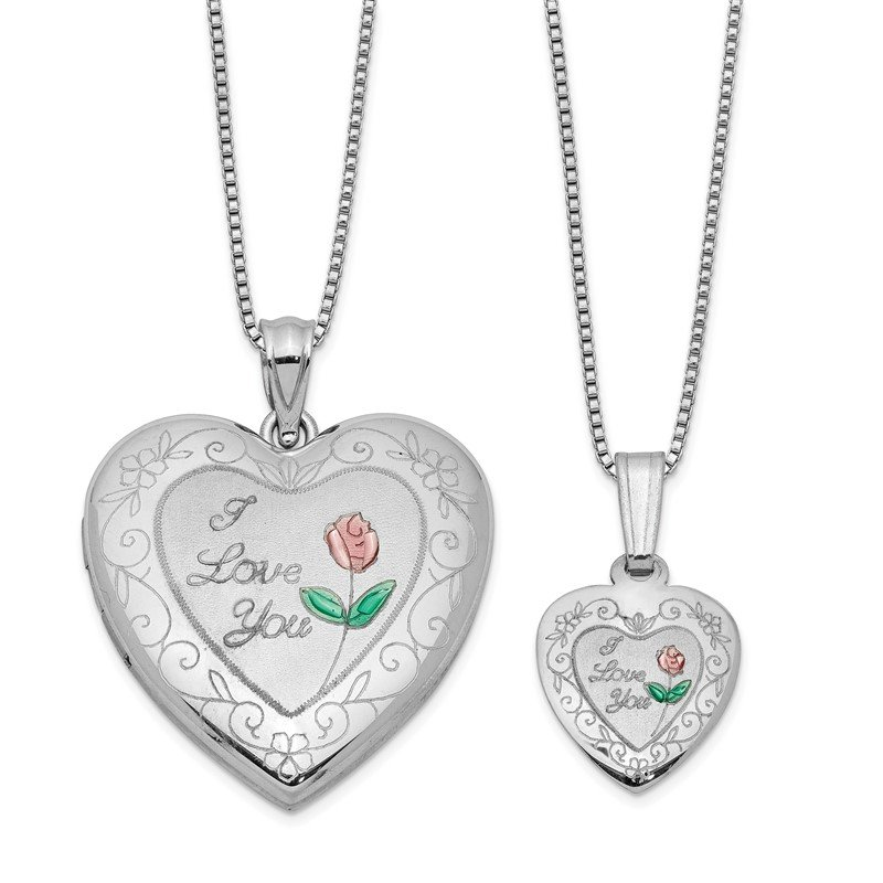 Quality Gold Sterling Silver RH-plated Enamel Rose I Love You Heart Locket & Pendant Set