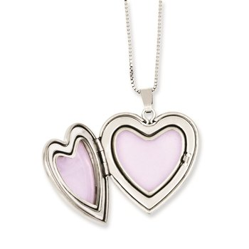 Sterling Silver RH-plated Rose I Love You Heart Locket & Pendant Necklace