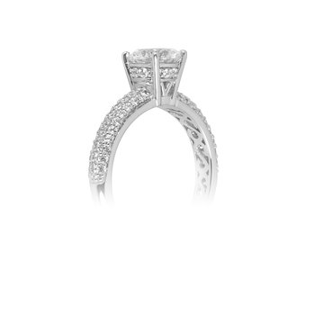 18K WG Semi Mount Diamond Engagement Ring Pave Set