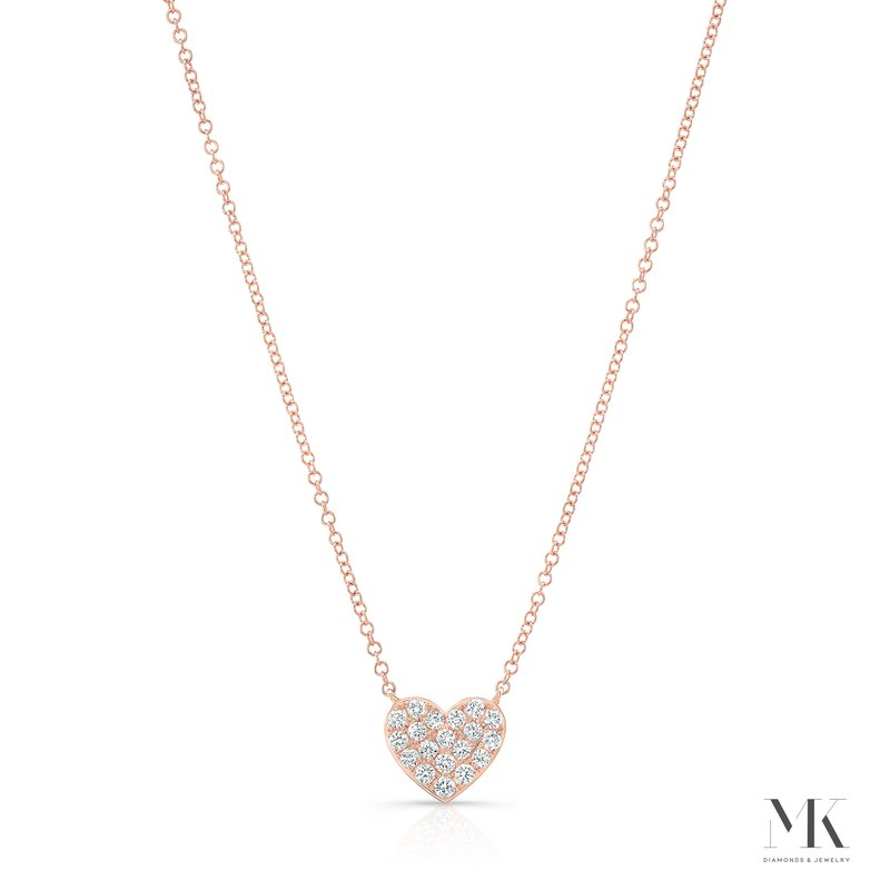 MK Diamonds Rose Gold Pave Heart Necklace