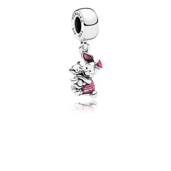 Disney, Piglet Dangle Charm, Transparent Cerise Enamel