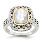 Quality Gold Sterling Silver w/14k Antiqued MOP Ring