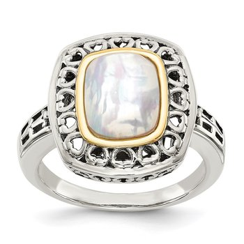 Sterling Silver w/14k Antiqued Mother-of-Pearl Heart Ring