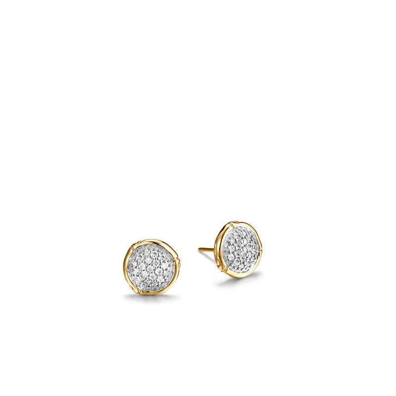 JOHN HARDY Bamboo 10MM Stud Earring in 18K Gold with Diamonds