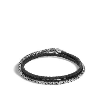 Classic Chain Triple Wrap 3.5mm Bracelet in Silver, Leather