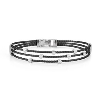 Black Cable Triple Strand Bracelet with 18kt White Gold & Diamonds