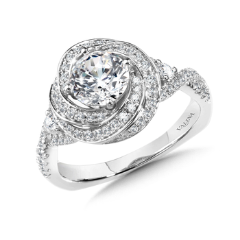 Diamond Halo Engagement Ring Mounting in 14K White Gold (0.60 ct. tw.)