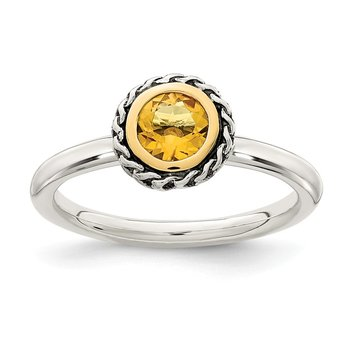 Sterling Silver w/ 14k Polished Citrine Ring