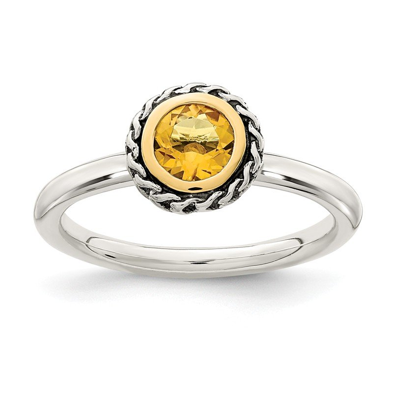 Shey Couture Sterling Silver w/ 14k Polished Citrine Ring