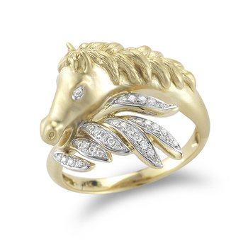 14K Yellow Gold Horses Head and Diamond Ring