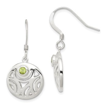 Sterling Silver Peridot Round Polished Dangle Earrings