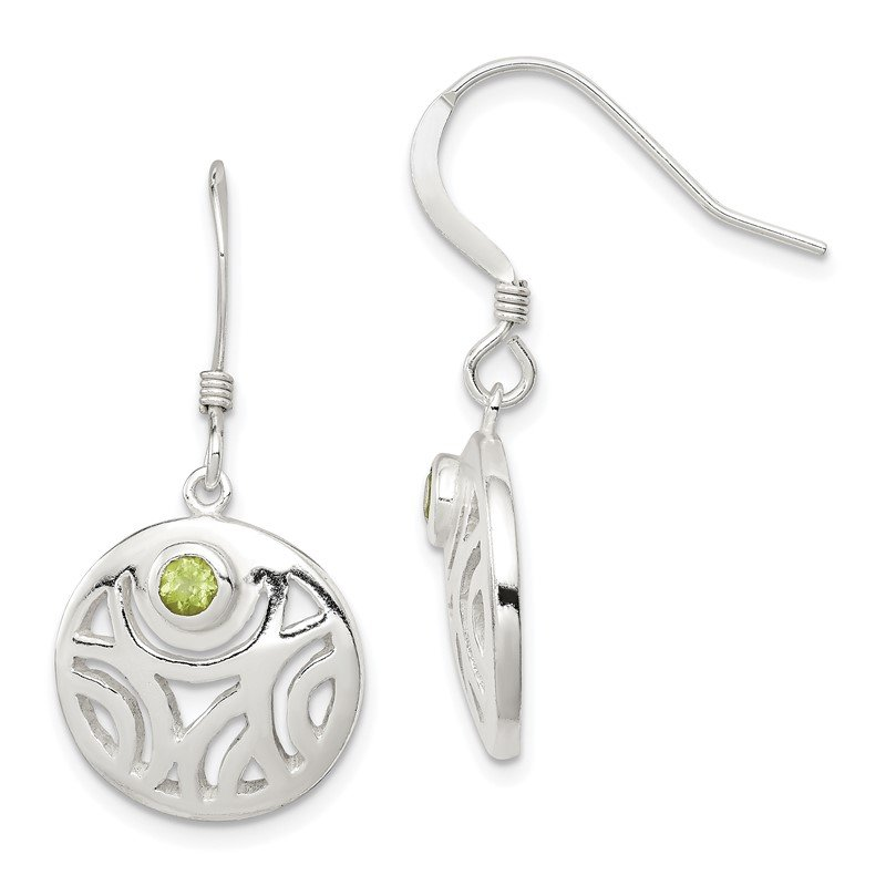 Quality Gold Sterling Silver Peridot Round Polished Dangle Earrings