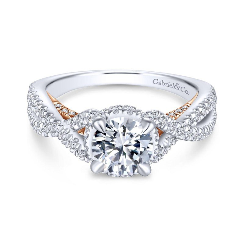 Gabriel Bridal 14K White-Rose Gold Twisted Round Diamond Engagement Ring