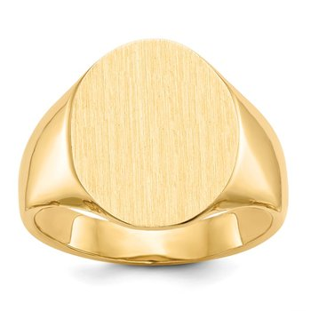 14k 18.0x14.0mm Open Back Mens Signet Ring