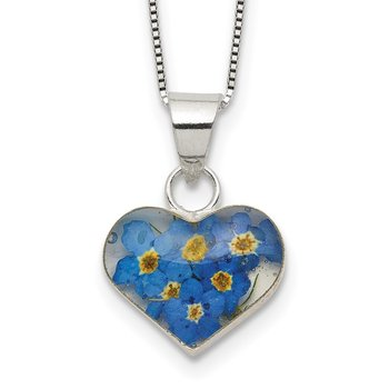 Sterling Silver Shrieking Violet Forget Me Not w/ext Heart Necklace