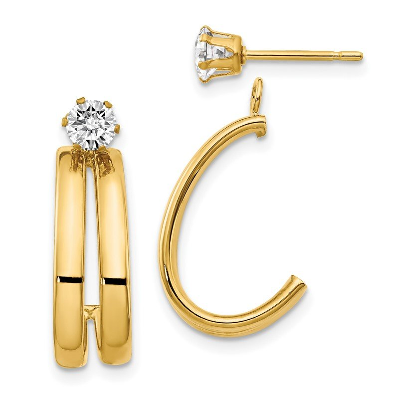 Quality Gold 14K Yellow Gold Polished w/CZ Stud Earring Jackets