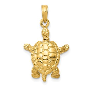 14K Solid Polished 3-D Moveable Turtle Pendant