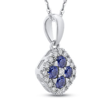 10K White Gold 1/5 Ct Diamond with 3/8 Ct Sapphire Fashion Pendant with Chain