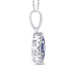 Essentials 10K White Gold 1/5 Ct Diamond with 3/8 Ct Sapphire Fashion Pendant with Chain