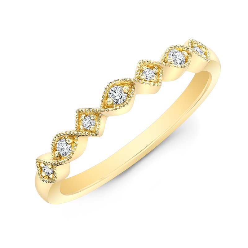 Yellow Gold Milgrain Alternating Shapes Stackable Band