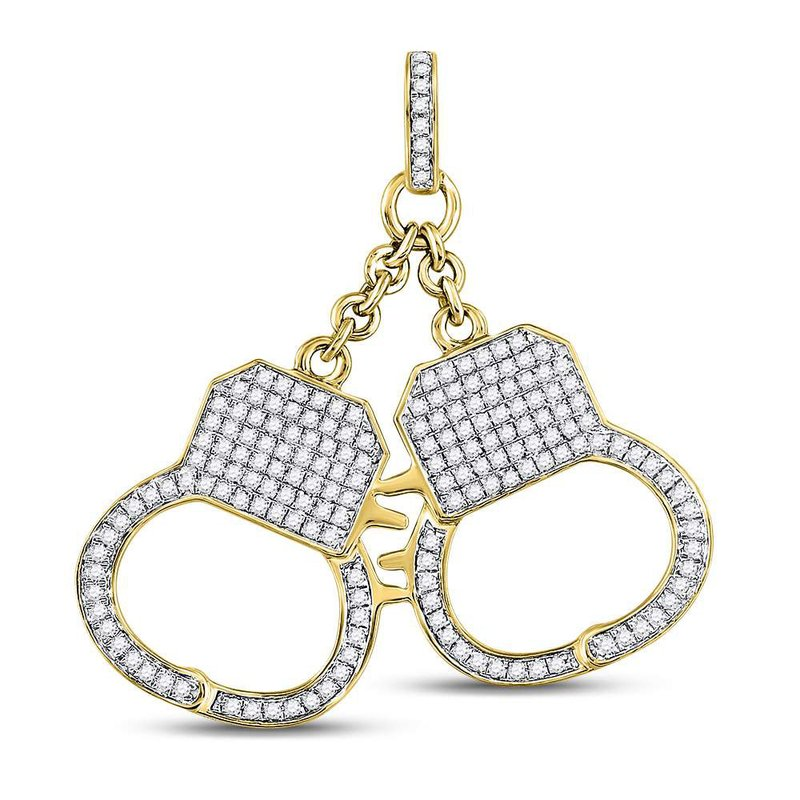 Kingdom Treasures 10kt Yellow Gold Mens Round Diamond Handcuff Charm Pendant 1-1/4 Cttw