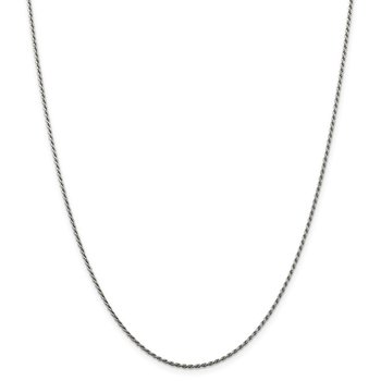 Sterling Silver Rhodium-plated 1.5mm Diamond-cut Rope Chain