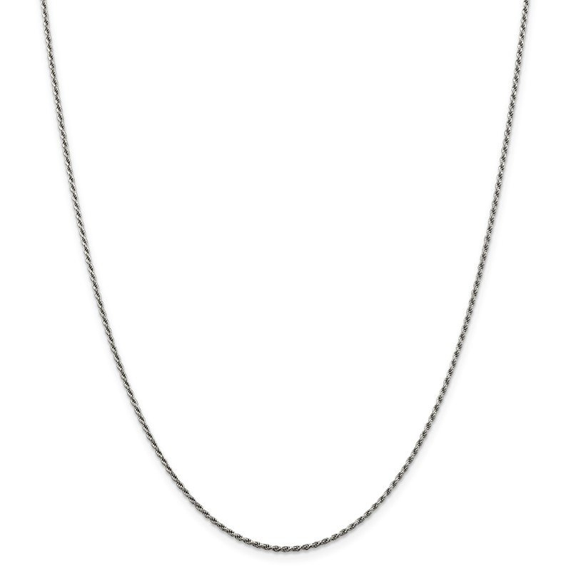 Quality Gold Sterling Silver Rhodium-plated 1.5mm Diamond-cut Rope Chain