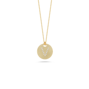 18KT GOLD DISC PENDANT WITH DIAMOND INITIAL V