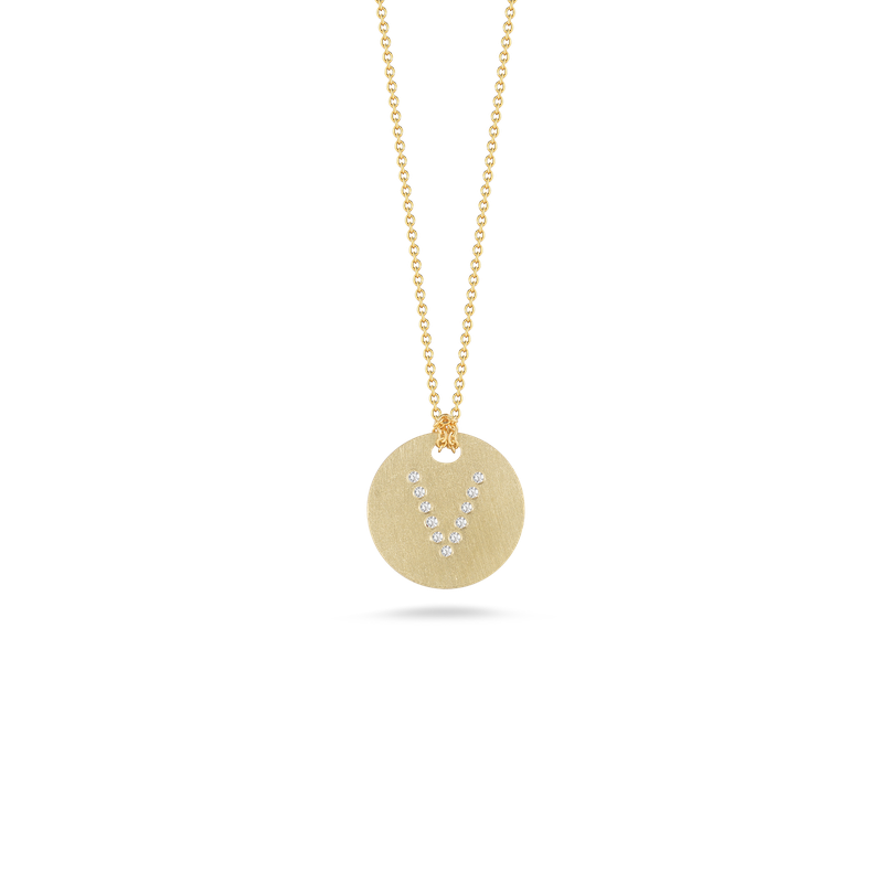 Roberto Coin 18Kt Gold Disc Pendant With Diamond Initial V