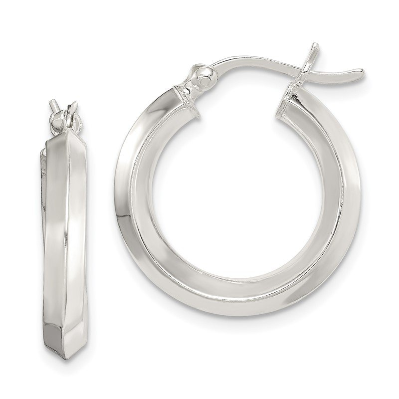 Quality Gold Sterling Silver 3x20mm Knife Edge Hoop Earrings
