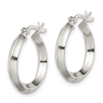 Sterling Silver 3x20mm Knife Edge Hoop Earrings