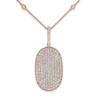 Diamond Oval Drop Necklace in 14k Rose Gold with 172 Diamonds weighing 2.17ct tw.