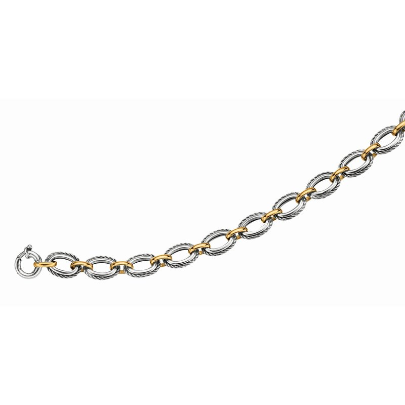Royal Chain Silver & 18K Italian Cable Bracelet
