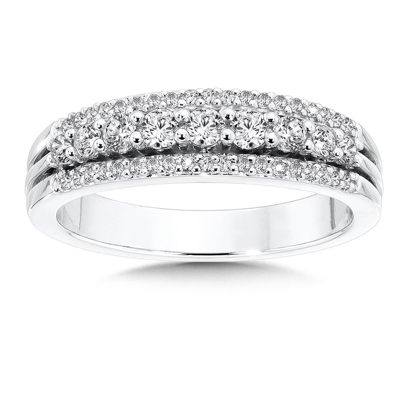 SDC Creations Pave and Prong set Graduated Diamond Anniversary Ring 14k White Gold (1/2ct. tw.)